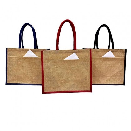 Large Colour Jute Bag with Jute Pocket