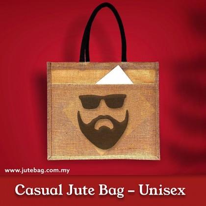 Large Natural Jute Bag With Jute Pocket